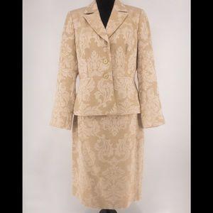 liz claiborne gold floral skirt suit